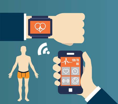 sincronizacion: Aplicaci�n Fitness para la salud. Sincronizaci�n de dispositivos - ilustraci�n vectorial