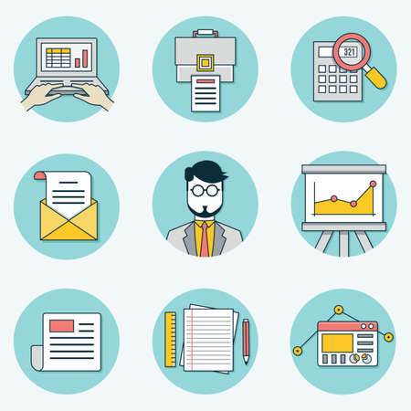 interactivity: Set of data analytics icons for business - part 2  Illustration