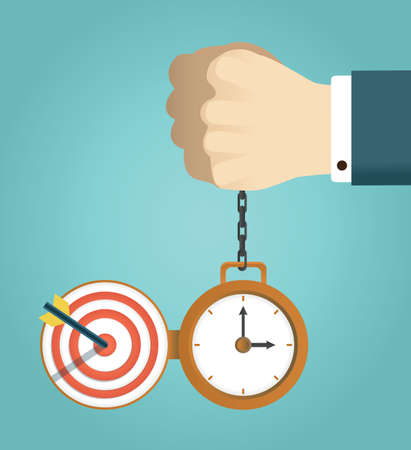 concept of deadline and successfully completed work. Hand holding watch.  Vector