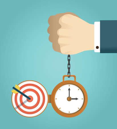 completato: concetto di termine e di lavoro a termine con successo. Mano che tiene orologio.