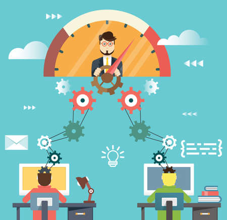 Platte infographic van human resources management en zakelijk succes