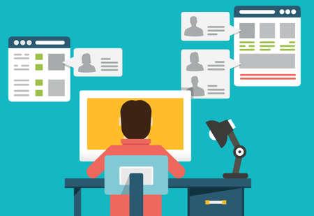chat online: Flat concept of social media - vector illustration Illustration