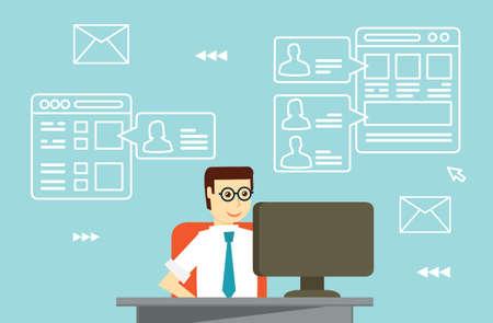 interakcje: Interakcje biznesmen przez social media z partnerami biznesowymi - ilustracji wektorowych