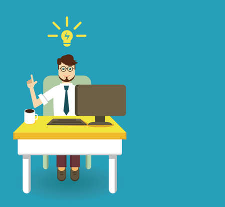 copyspace: An innovation idea of employee with copyspace for text - vector illustration