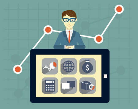emoney: Expert of search engine optimization and business development. Analytics information and management resources - vector illustration