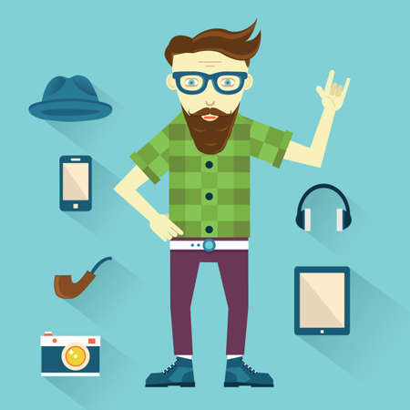 modish: Hipster with hipster elements for design - vector elements