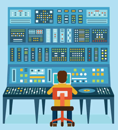 master volume: Vector illustration of work place sound engineer
