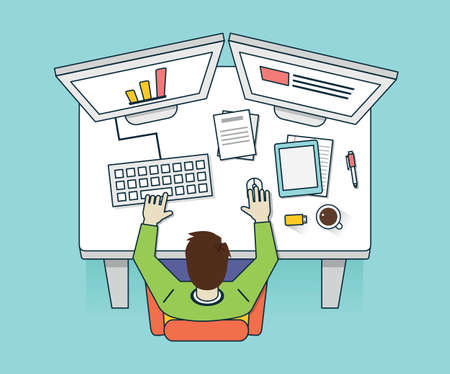 multitask: Vector flat illustration of workhard process. Management and business - vector illustration