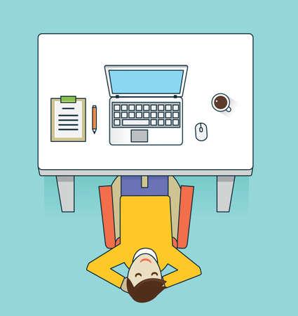 idler: Vector flat illustration recreation of businessman - vector illustration Illustration
