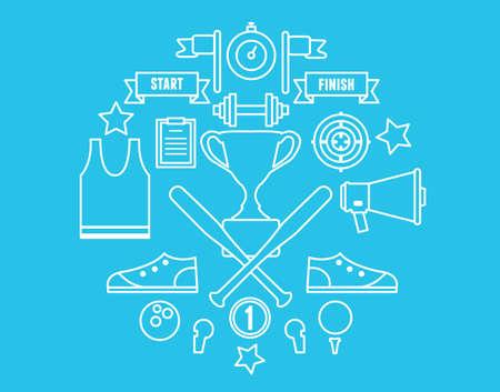 Vector sport symbols in circle. Line style design - vector illustration Vector