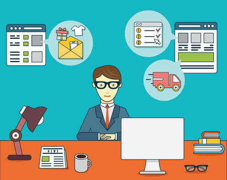 using computer: Businessman sitting at the desk and using credit card and computer for online shopping. Flat style design - vector illustration Illustration