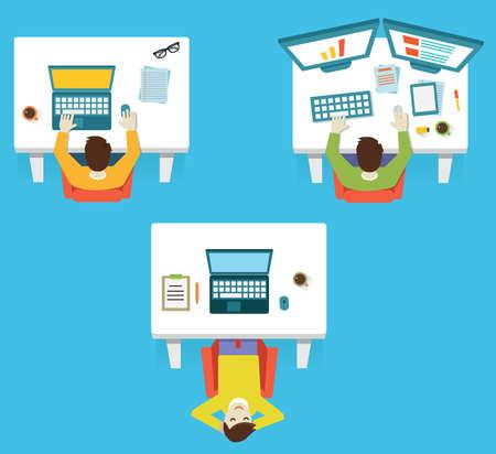 hardwork: Human resources and hardwork. Business teamwork - vector illustration