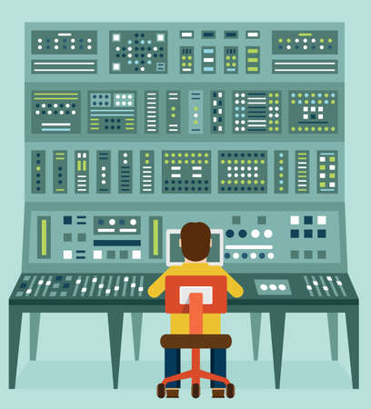Flat illustration of expert with control panel.