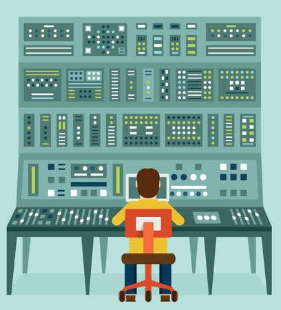tablero de control: Ilustración plana de expertos con el panel de control.