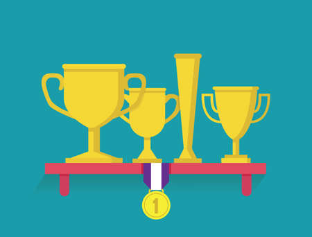 Trophy and awards on shelf. Flatstyle - vector illustration