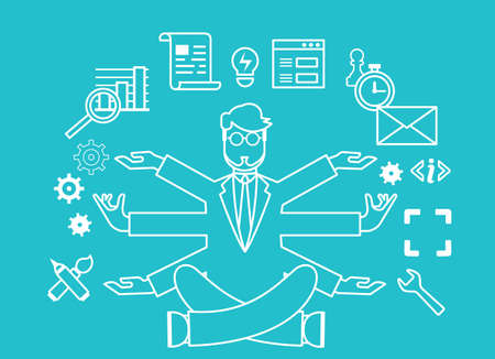 multitask: Human resources and self-development. Modern business. Outline style - vector illustration