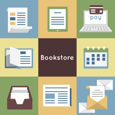 periodical: Vector Flat Concept of Bookstore - Mobile Service. Online Bookstore, Online Book Shopping - vector symbols