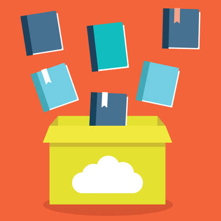 file box: Vector flat illustration of e-books storage in cloud. Process of transfer books to a cloud network server. Electronic subscription - vector illustration