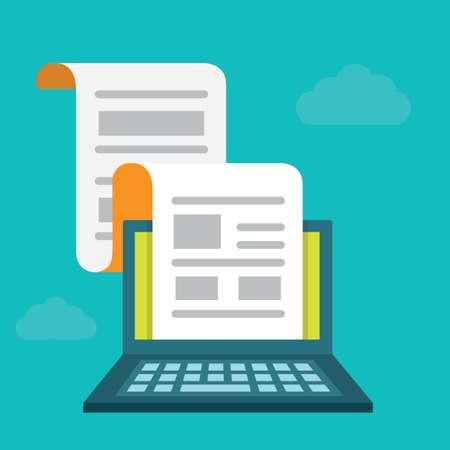 Vector platte concept regelmatig verdeeld nieuwsbulletin via e-mail. Abonnementen en artikelen - vector illustratie