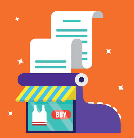 bakery price: Vector illustration of sales register. Online market - vector illustration
