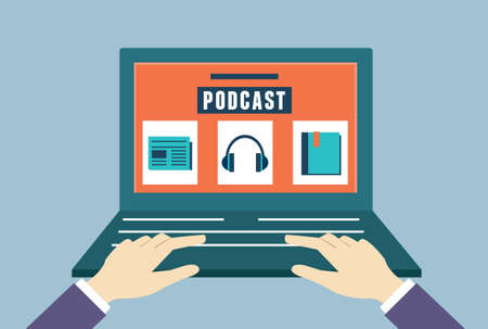 Vector flat concept of audio podcast. Subscription as business model - vector illustration Vector