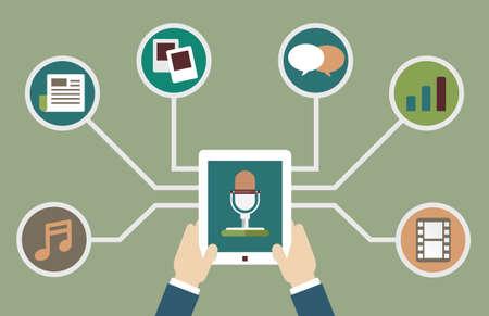 Gebruikers die tablet-pc met audio-podcast met verschillende formaten. Inschrijving als business model. Ontwerp flatstyle - vector illustartion Stock Illustratie
