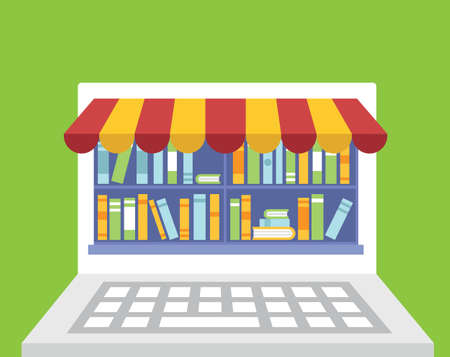 subscription: Library of books for read in laptop. Subscription as business model. Flatstyle design - vector illustration