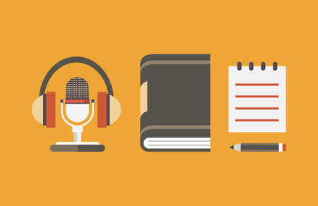 Vector flat objects for audio podcast - vector illustration Çizim