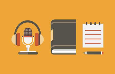 Vector platte objecten voor audio podcast - vector illustratie