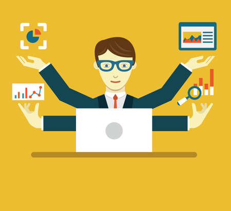 professional: Flat Illustration of Data Specialist with copy space for text illustration