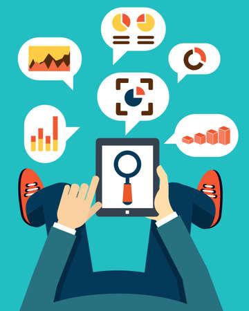 human resource management: User holding tablet pc illustration Illustration