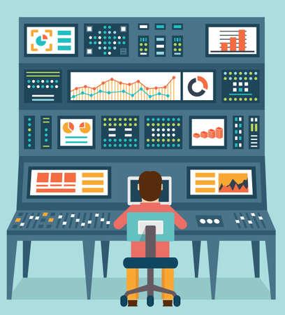 monitoreo: concepto plana de la información analítica y manejo de datos ilustración Vectores