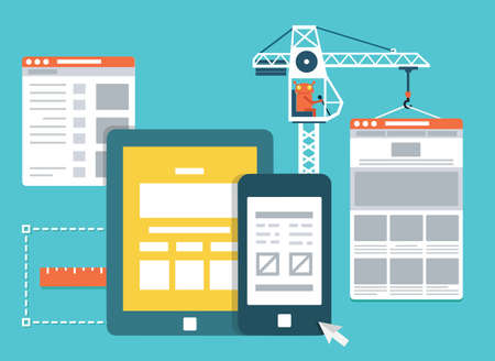Process of creating site. Development skeleton framework of a website - vector illustration 일러스트