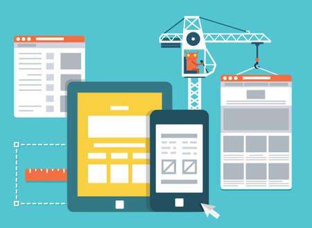 Process of creating site. Development skeleton framework of a website - vector illustration Vettoriali