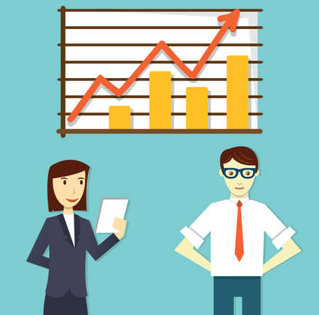 analytic: Vector concept of business plan development and business optimization - vector illustration Illustration