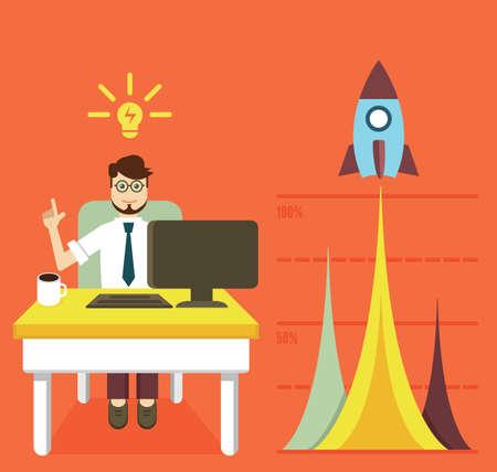 Vector concept of business optimization and business growth graph - vector illustration Ilustração