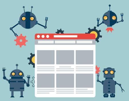usability: Process of creating site. Development skeleton framework of a website - vector illustration Illustration