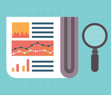 Flat vector illustration of web analytics information and development website statistic - vector illustration Vector