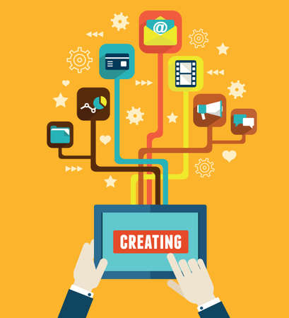 Optimalisatie en het maken van applicaties voor mobiele apparaten - vector illustratie Stock Illustratie