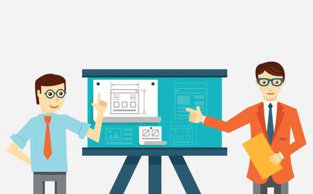 usability: Creating mobile application. Development skeleton framework of a application - vector illustration Illustration