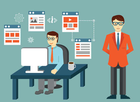 creating: Process of creating site. Development skeleton framework of a website or application - vector illustration