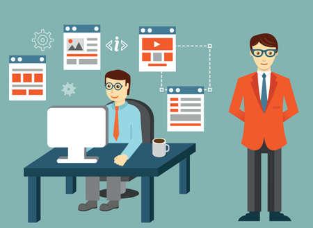 Process of creating site. Development skeleton framework of a website or application - vector illustration