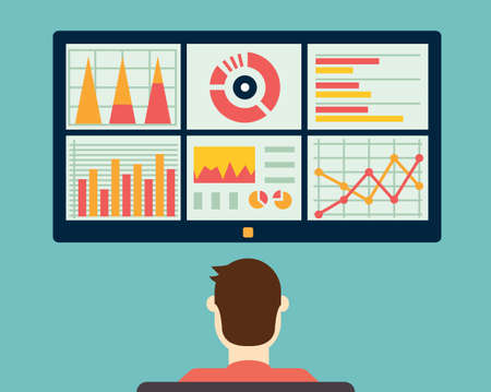 productivity system: Analysis of information on the dashboard. Monitoring and statistics - vector illustration
