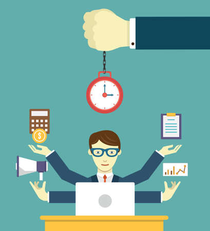 work task: Time management - pledge of success. Business planning and results - vector illustration