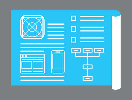 experience design: Application development for mobile devices. Sketch of application - vector illustration
