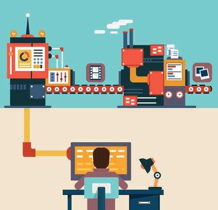 プログラミングの作成と最適化のアプリケーション - ベクトル イラスト - モバイル デバイスのアプリケーション開発のインフォ グラフィック
