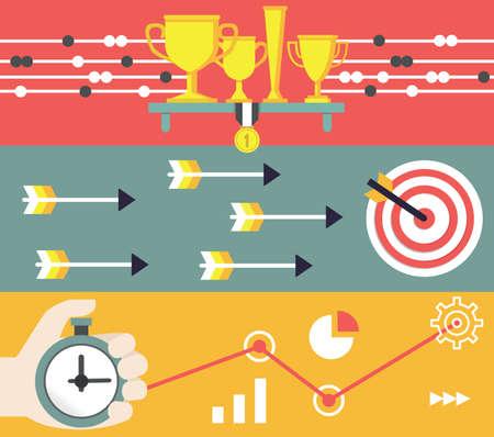 productividad: Concepto de negocios y marketing. Puesta en marcha y resultados - ilustración vectorial