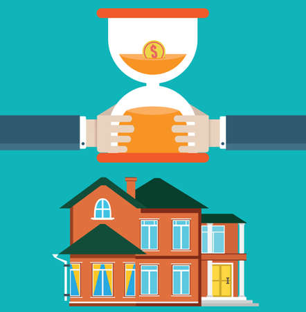investor: Purchase of housing by loan. Mortgage and time - vector illustration Illustration