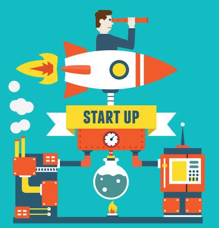Vector concept de démarrage d'une entreprise et l'optimisation. Gestion des affaires - illustration vectorielle