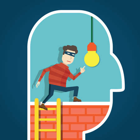 Copyright infringement. To steal an idea - vector illustration Illustration